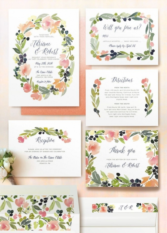 10 Convites e Papelaria com Flores