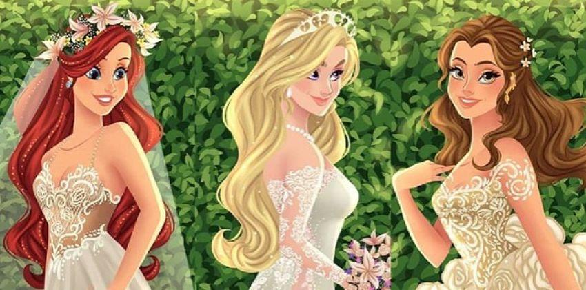 O vestido de noiva das princesas da Disney